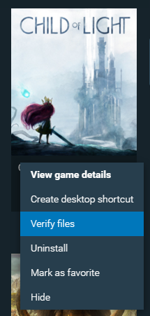 Game with verify files highlighted