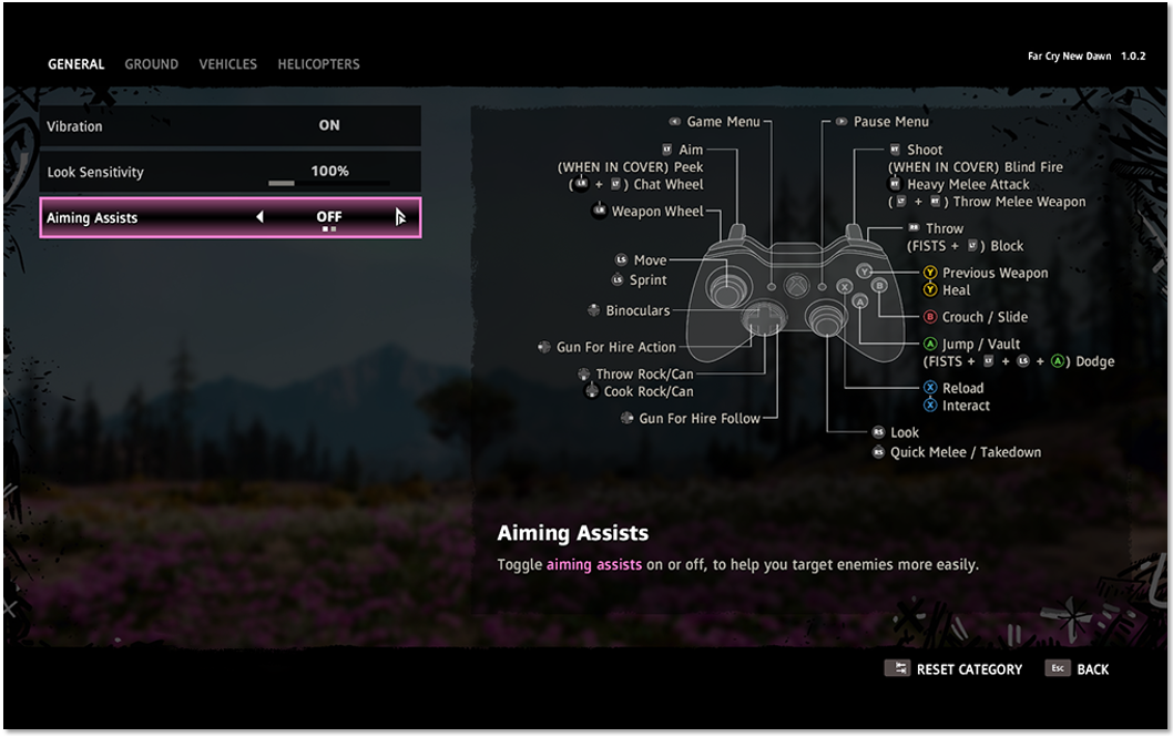 """Gamepad"" menu showing the Aiming Assists setting highlighted and set to ""Off"""
