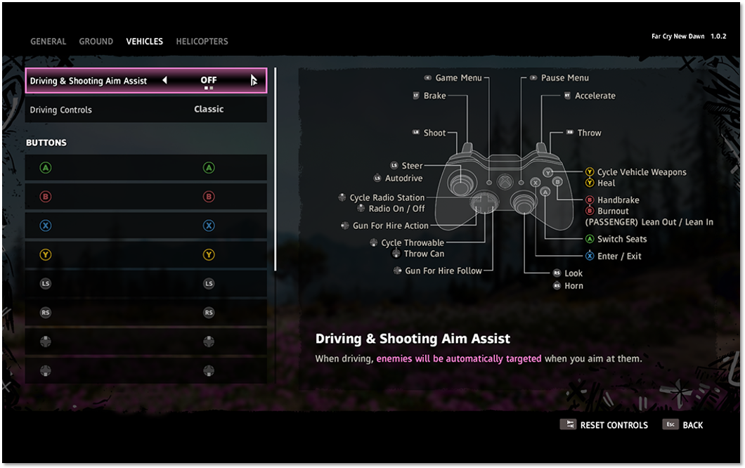 """Vehicles"" tab in the ""Gamepad"" menu highlighting the ""Driving & Shooting Assist"" setting set to ""Off"""