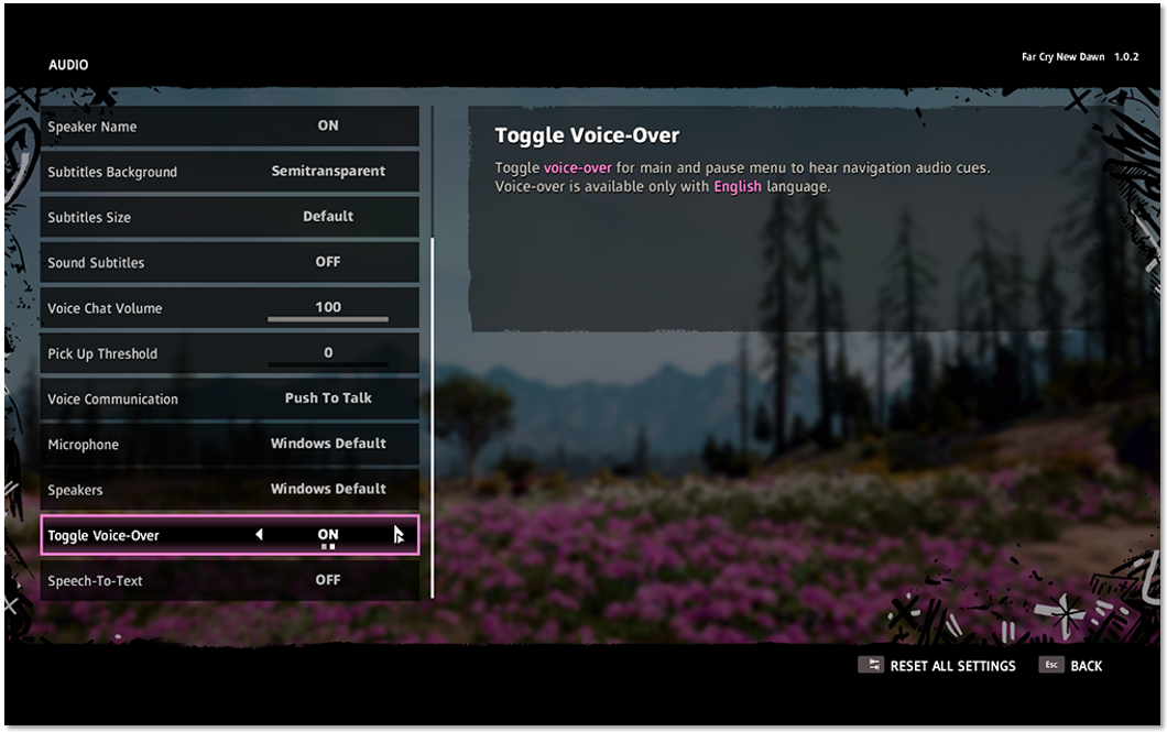 """Audio"" menu highlighting ""Toggle Voice-Over"" setting set to ""On"""