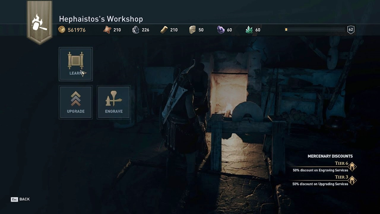 Hephaistos's Workshop menu