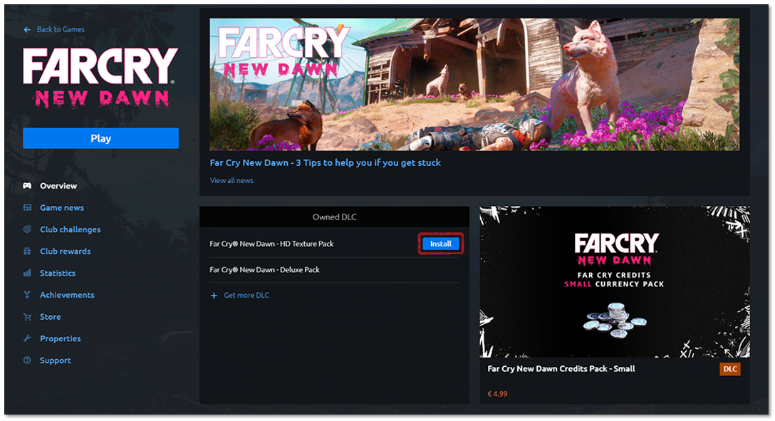 Far Cry New Dawn game summary page showing owned DLC, highlighting the install button