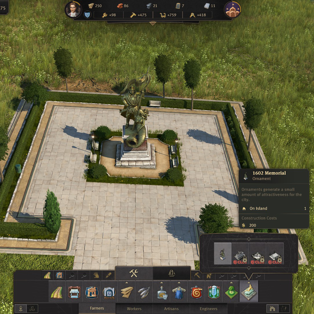 1602 Memorial decoration screenshot with menu