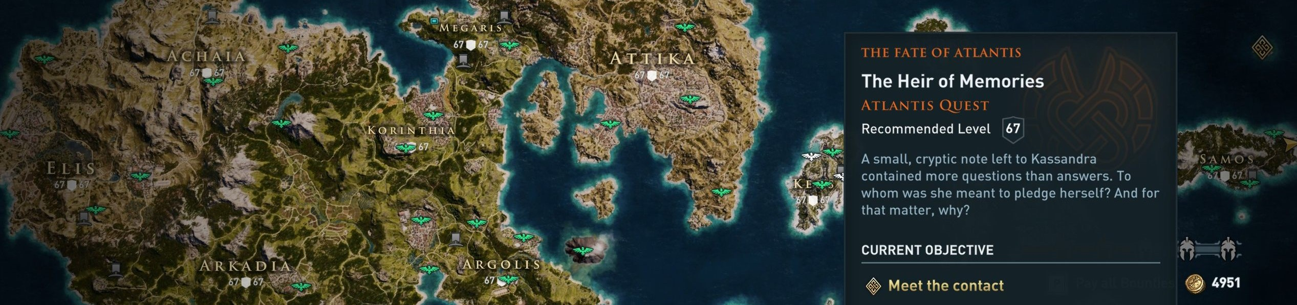 """Map of Keos, showing the location of """"The Heir of Memories"""" quest"""
