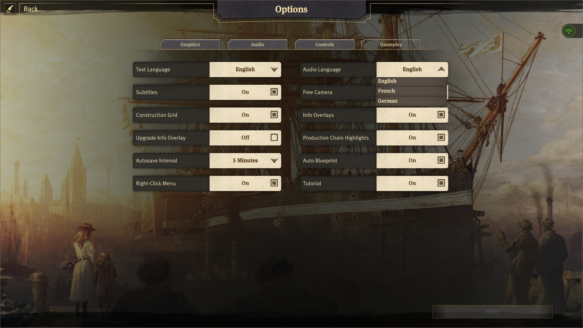 Anno 1800 Options Screen