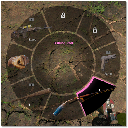 Image of the weapon wheel showing Fishing Rod highlighted
