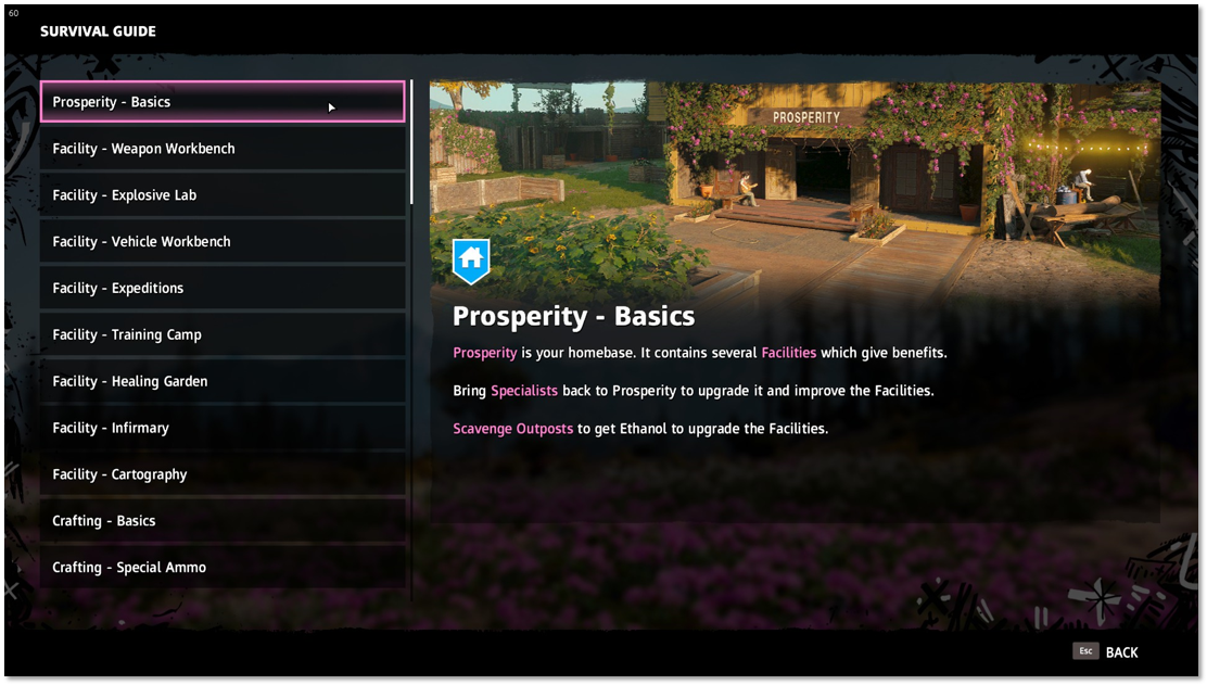 Survival Guide highlighting Prosperity basics