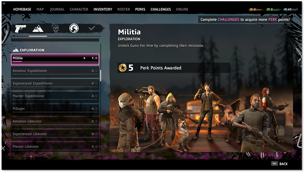 "Challenge tab highlighting ""Militia"""