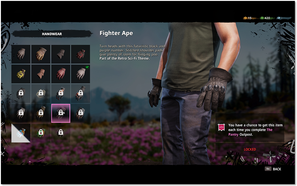Character customisation screen showing locked Handwear highlighted