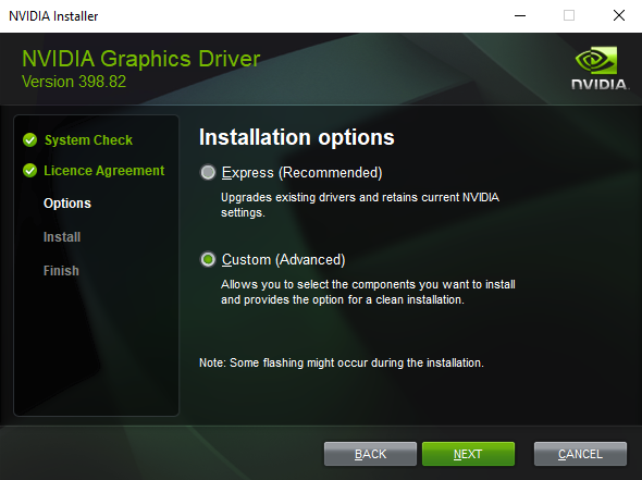 Nvidia Install Options Menu