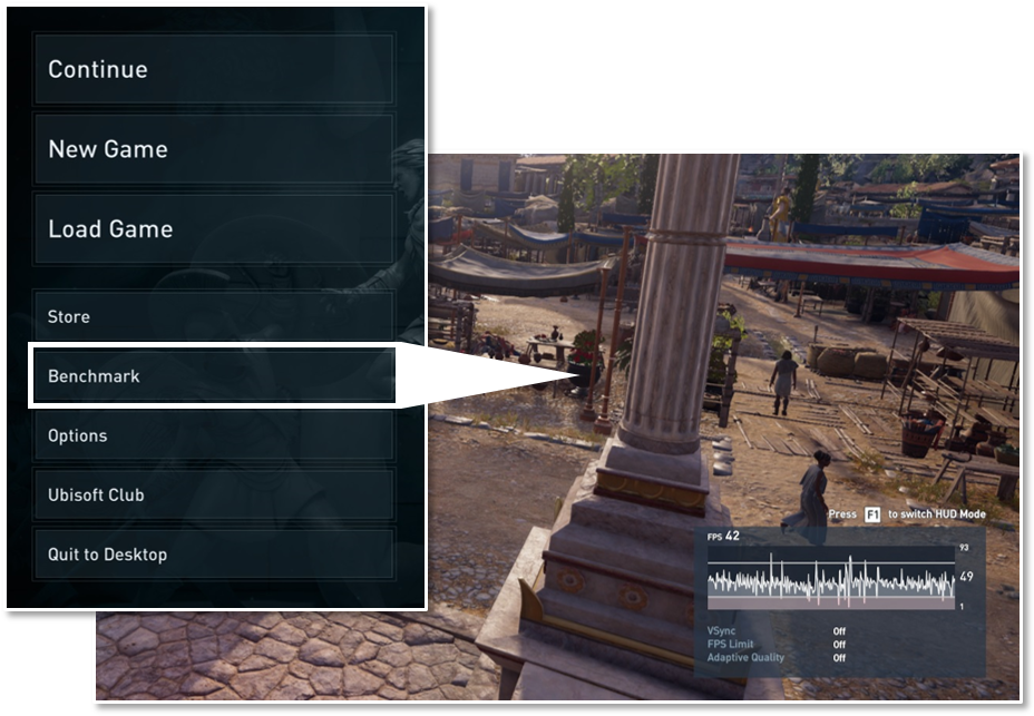 Title menu with benchmark button
