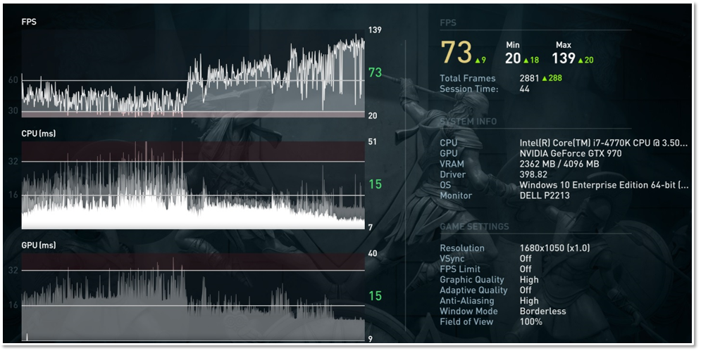 Benchmark results screen