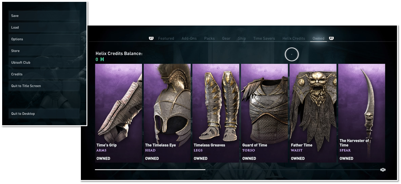Store menu for owned items