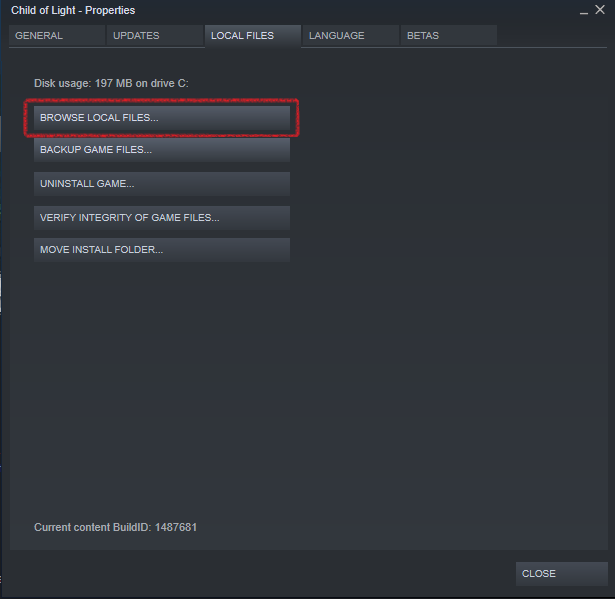 Steam client showing the Local Files tab