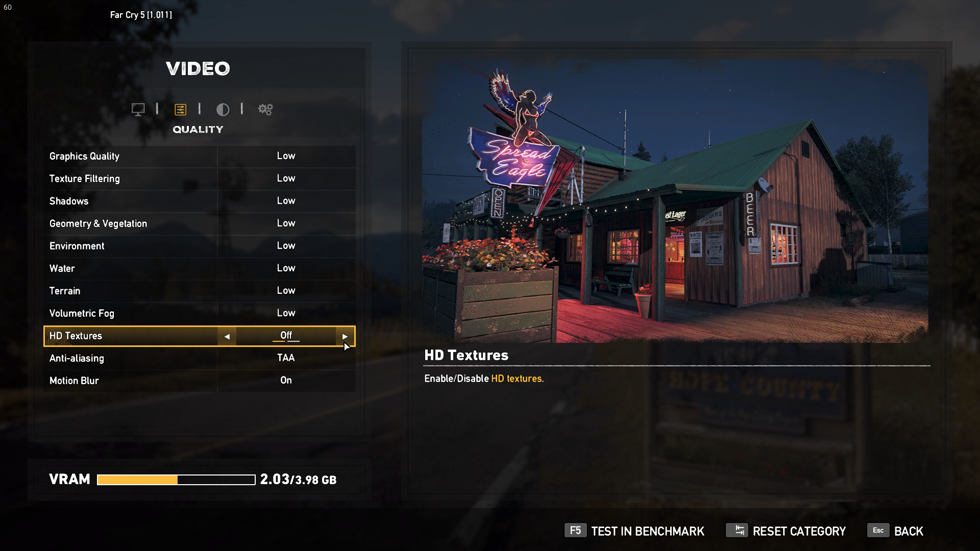 Video options menu in Far Cry 5