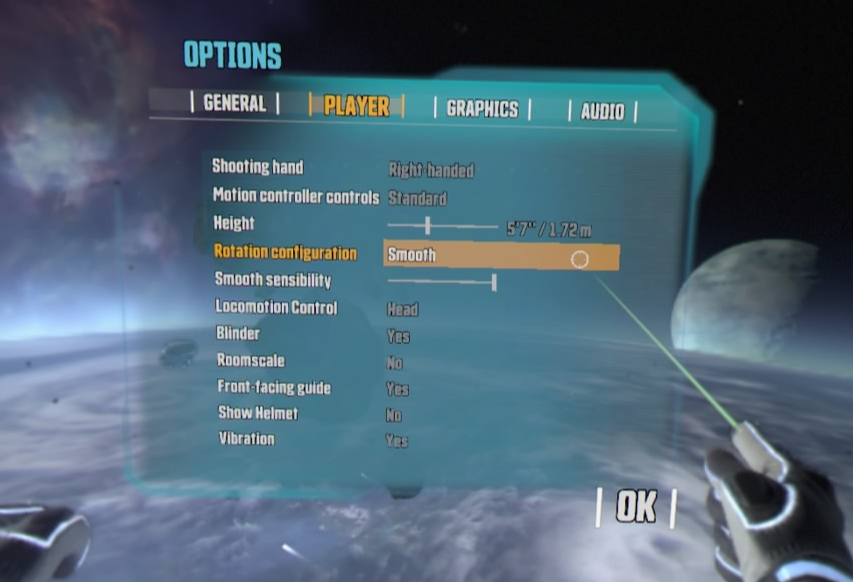 Space Junkies Options Menu Smooth Rotation Enabled