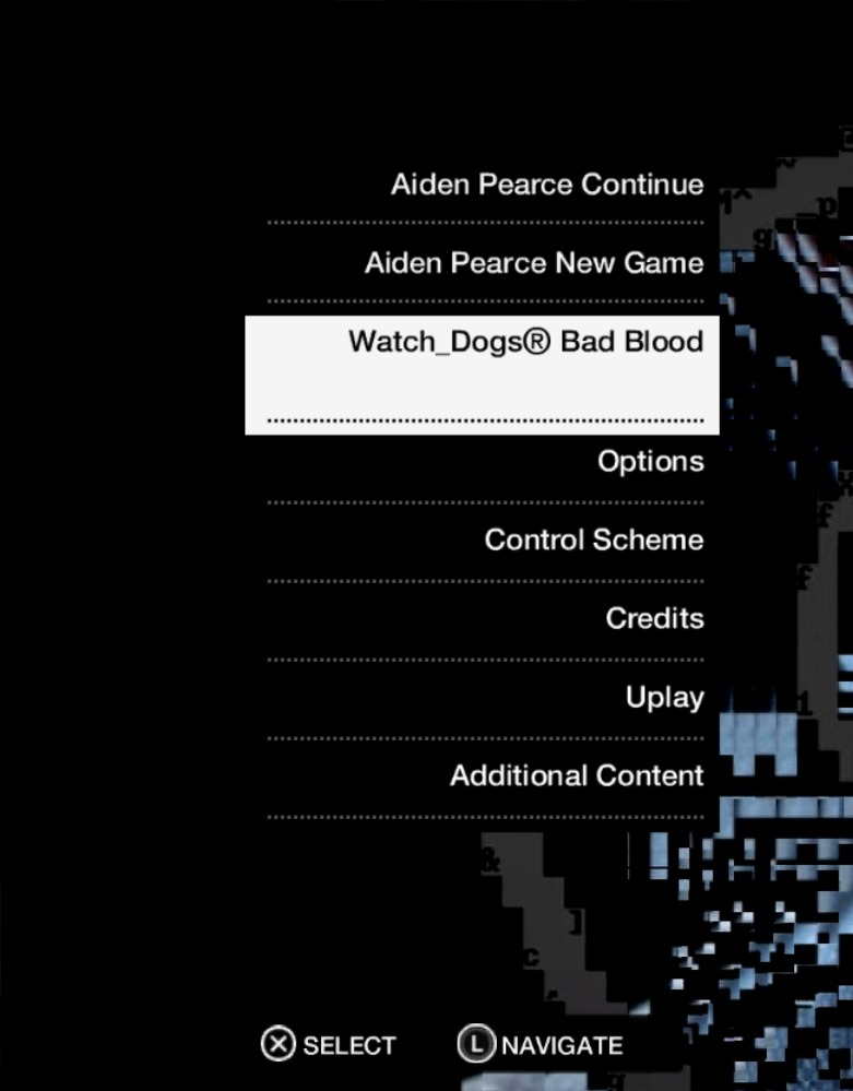Watch Dogs main menu